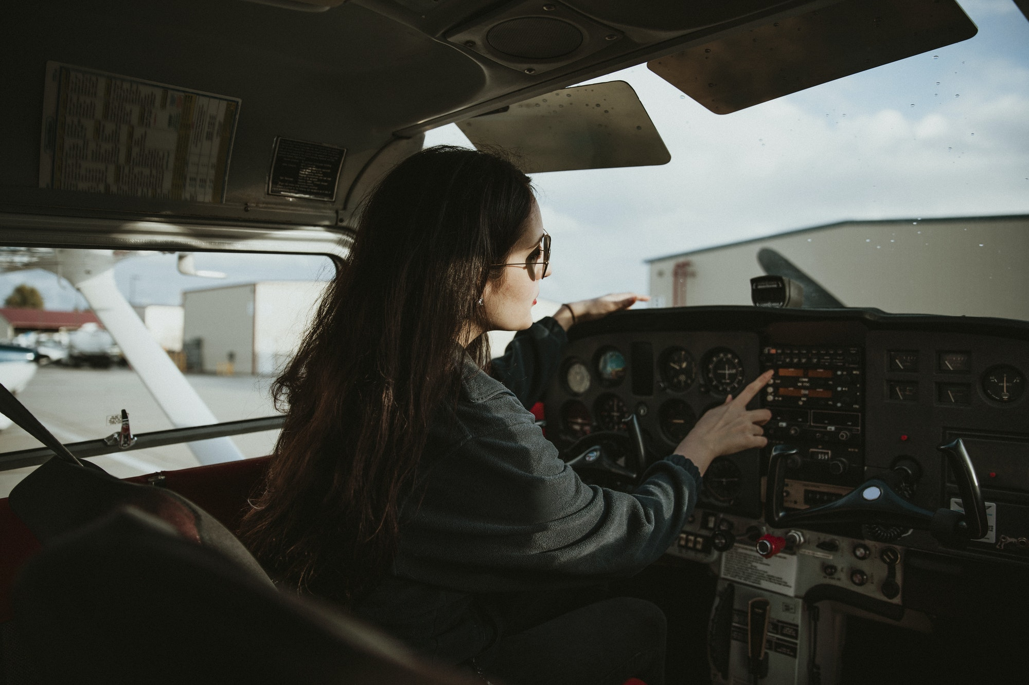 Professional female aviator
